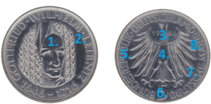 Daten-und-Kenziffern-einer-Münze-Jahrgang-Nominal-Motiv-Prägestätte-Währung-Schriftzug
