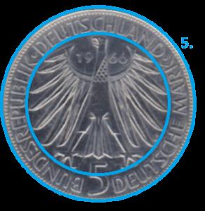 Schriftzug einer Münze